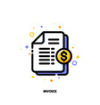 icon of paper bank document with golden coin vector image vector image