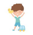 kids zone little boy playing with duck and car vector image