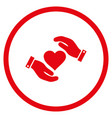 love heart care hands rounded icon vector image
