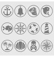 Marine symbols gray vector image