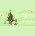 mice decorate christmas tree new year banner vector image vector image