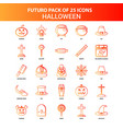 orange futuro 25 halloween icon set vector image