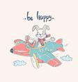 pilot bunny cartoon vector image vector image