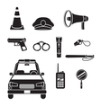Police Icons Set Monochrome vector image vector image
