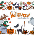 seamless horizontal borders of halloween icons vector image vector image
