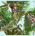 seamless leopard skin pattern with tropical leaves vector image vector image