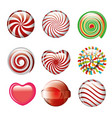 set candies spiral and heart different color vector image