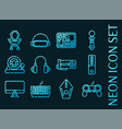 set cybersport blue glowing neon icons vector image