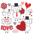 set isolated elephant in love black and white vector image vector image