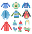 set of christmas design warm winter clothes scarf vector image
