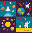 space planets banner set flat style vector image vector image