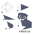 step instructions how to make origami a black cat vector image vector image