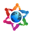 Teamwork around globe logo vector image