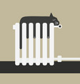 the cat sleep on the battery vector image