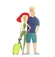traveling young couple with vector image