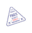 visa stamp depart from paris france isolated seal vector image vector image