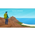 Web banner with traveller vector image vector image