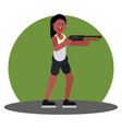 woman with shotgun vector image vector image