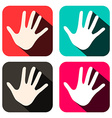Palm Hands Icons in Rounded Squares Set vector image