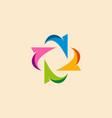 circle arrow colored business logo vector image