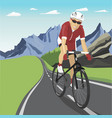 male professional cyclist riding in mountains vector image