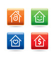 set of color house buttons vector image