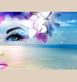 abstract summer collage with woman face and blue vector image