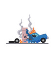 accident on road car damaged road icon vector image vector image