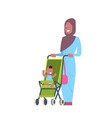 arabic mother baby son in stroller full length vector image vector image