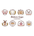 bakery and donuts collections logo flat color vector image vector image