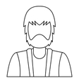 Bearded man icon outline style vector image vector image