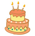 beautiful decorated birthday cake with glowing vector image vector image