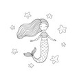 beautiful little mermaid and starfish siren sea vector image vector image