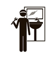 black silhouette plumber with spanner in bathroom vector image vector image