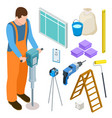 builder and construction tools isometric vector image