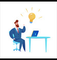 business man in suit with light bulb vector image vector image