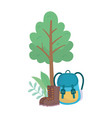 camping backpack boots equipment cartoon tree bush vector image vector image