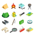 Camping isometric 3d icons vector image