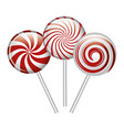 cartoon lollipop candy spiral red and white design vector image