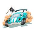 cartoon racing car rushes along track vector image