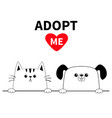 cat dog head face set hands paw holding line vector image vector image