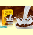 chocolate breakfast cereals realistic composition vector image vector image
