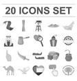 country united arab emirates monochrome icons in vector image vector image