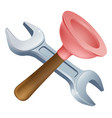 crossed plunger and spanner tools vector image vector image
