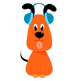 dog with headphones on white background vector image vector image