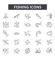 fishing line icons signs set outline vector image vector image