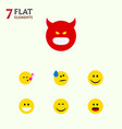 flat icon emoji set of wonder tears smile and vector image vector image