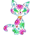 floral kitten illustration vector image vector image