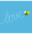 Flying bee Dash word Love in the sky Card vector image vector image
