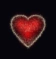gold shiny heart on black background vector image